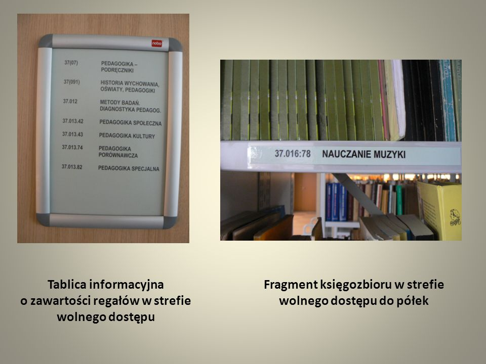 Tablica informacyjna o zawartości regałów w strefie wolnego dostępu