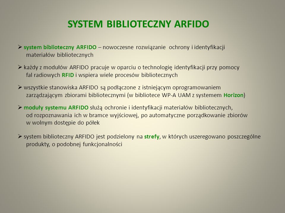 SYSTEM BIBLIOTECZNY ARFIDO