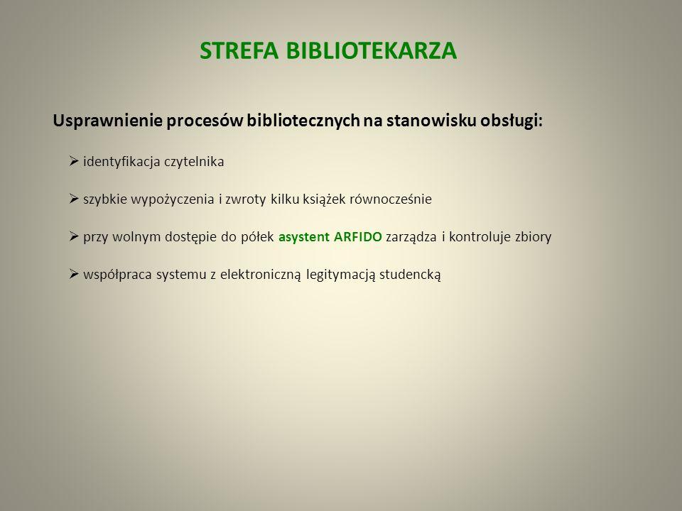 STREFA BIBLIOTEKARZA Usprawnienie procesów bibliotecznych na stanowisku obsługi: identyfikacja czytelnika.