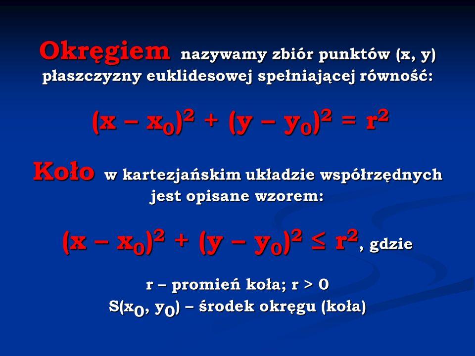Okręgiem nazywamy zbiór punktów (x, y) płaszczyzny euklidesowej spełniającej równość: (x – x0)2 + (y – y0)2 = r2 Koło w kartezjańskim układzie współrzędnych jest opisane wzorem: (x – x0)2 + (y – y0)2 ≤ r2, gdzie r – promień koła; r > 0 S(x0, y0) – środek okręgu (koła)