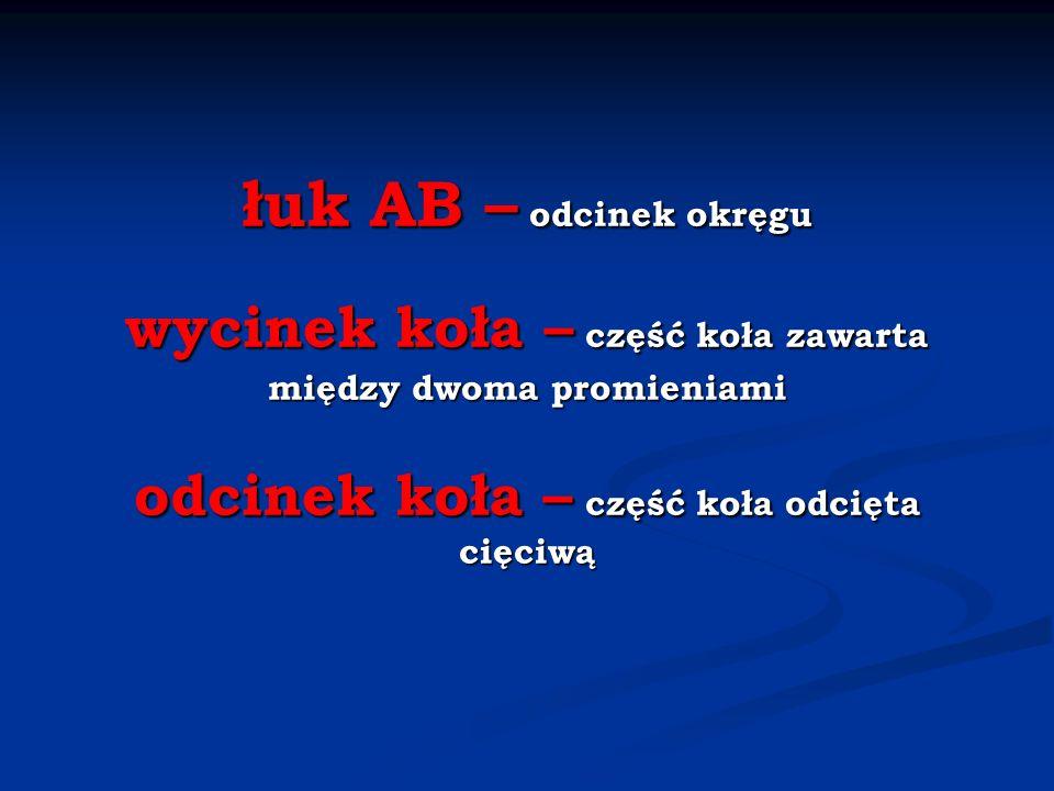 łuk AB – odcinek okręgu wycinek koła – część koła zawarta między dwoma promieniami odcinek koła – część koła odcięta cięciwą