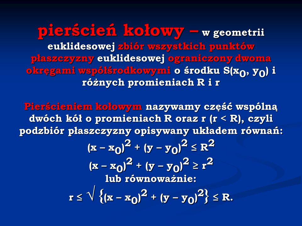 pierścień kołowy – w geometrii euklidesowej zbiór wszystkich punktów płaszczyzny euklidesowej ograniczony dwoma okręgami współśrodkowymi o środku S(x0, y0) i różnych promieniach R i r Pierścieniem kołowym nazywamy część wspólną dwóch kół o promieniach R oraz r (r < R), czyli podzbiór płaszczyzny opisywany układem równań: (x – x0)2 + (y – y0)2 ≤ R2 (x – x0)2 + (y – y0)2 ≥ r2 lub równoważnie: r ≤ √ {(x – x0)2 + (y – y0)2} ≤ R.