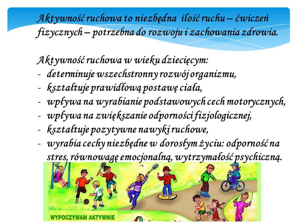 Aktywność ruchowa to niezbędna ilość ruchu – ćwiczeń fizycznych – potrzebna do rozwoju i zachowania zdrowia.