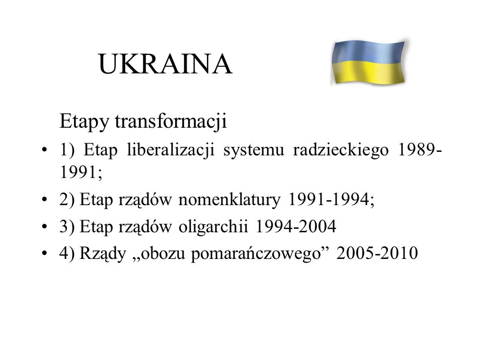UKRAINA Etapy transformacji