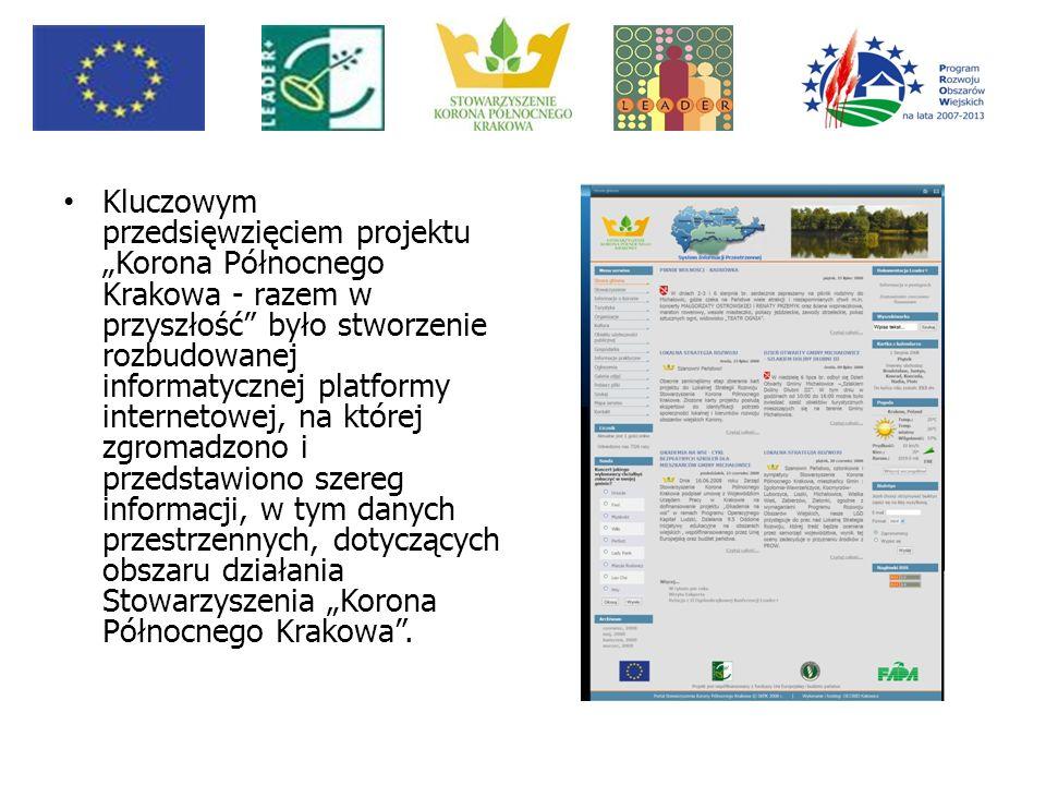 """Kluczowym przedsięwzięciem projektu """"Korona Północnego Krakowa - razem w przyszłość było stworzenie rozbudowanej informatycznej platformy internetowej, na której zgromadzono i przedstawiono szereg informacji, w tym danych przestrzennych, dotyczących obszaru działania Stowarzyszenia """"Korona Północnego Krakowa ."""
