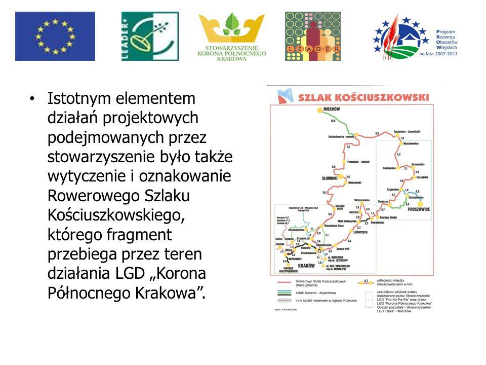 """Istotnym elementem działań projektowych podejmowanych przez stowarzyszenie było także wytyczenie i oznakowanie Rowerowego Szlaku Kościuszkowskiego, którego fragment przebiega przez teren działania LGD """"Korona Północnego Krakowa ."""
