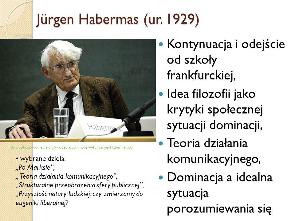 Jürgen Habermas (ur. 1929) Kontynuacja i odejście od szkoły frankfurckiej, Idea filozofii jako krytyki społecznej sytuacji dominacji,