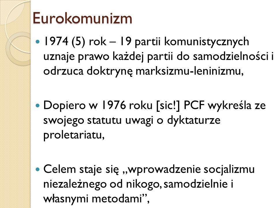 Eurokomunizm1974 (5) rok – 19 partii komunistycznych uznaje prawo każdej partii do samodzielności i odrzuca doktrynę marksizmu-leninizmu,