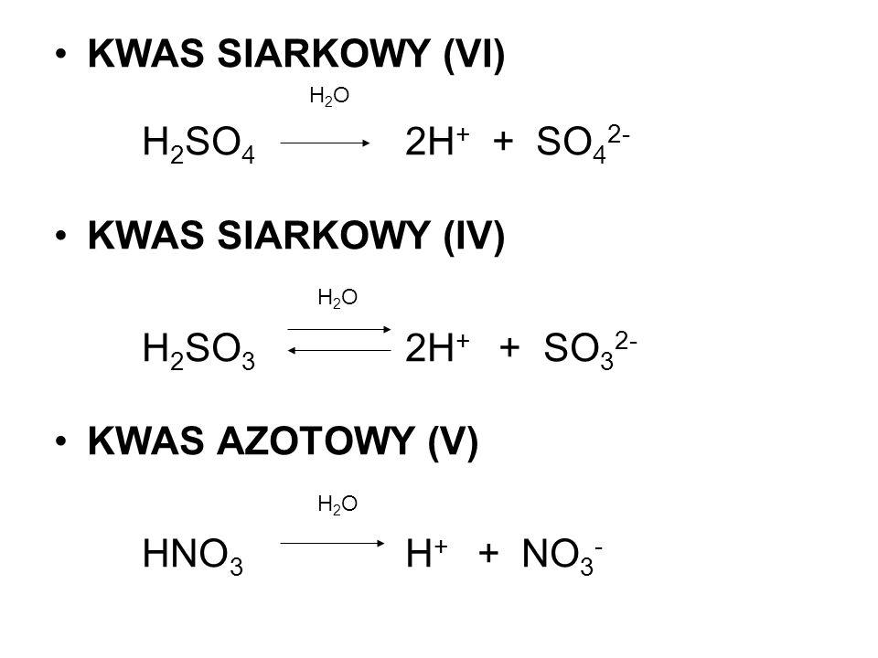 KWAS SIARKOWY (VI) H2SO4 2H+ + SO42- KWAS SIARKOWY (IV)