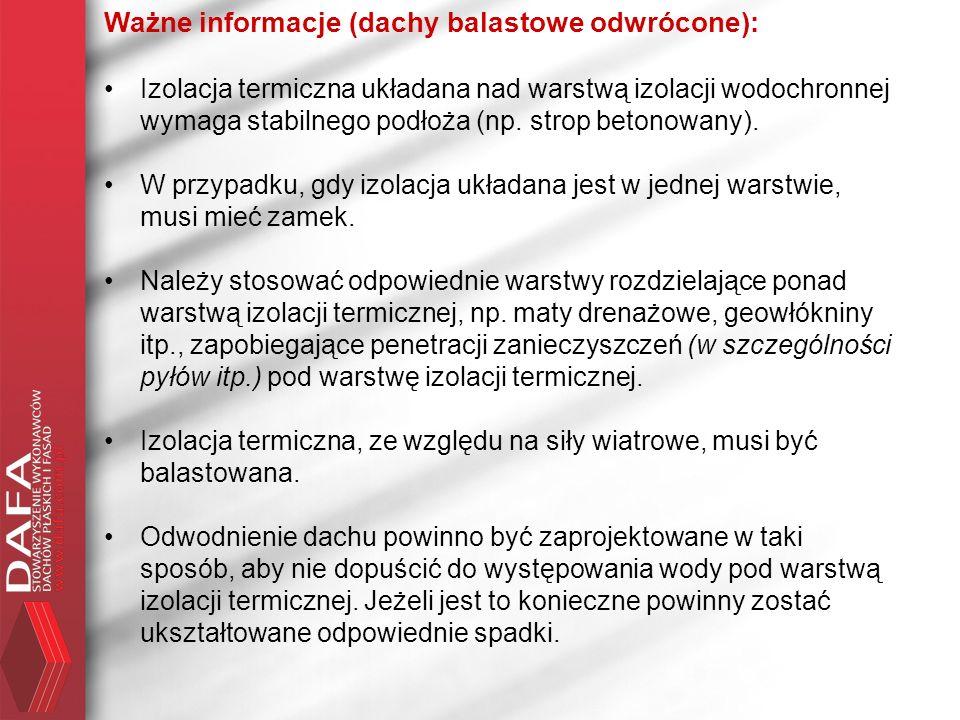 Ważne informacje (dachy balastowe odwrócone):