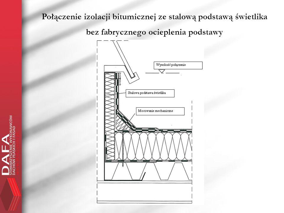 Połączenie izolacji bitumicznej ze stalową podstawą świetlika bez fabrycznego ocieplenia podstawy