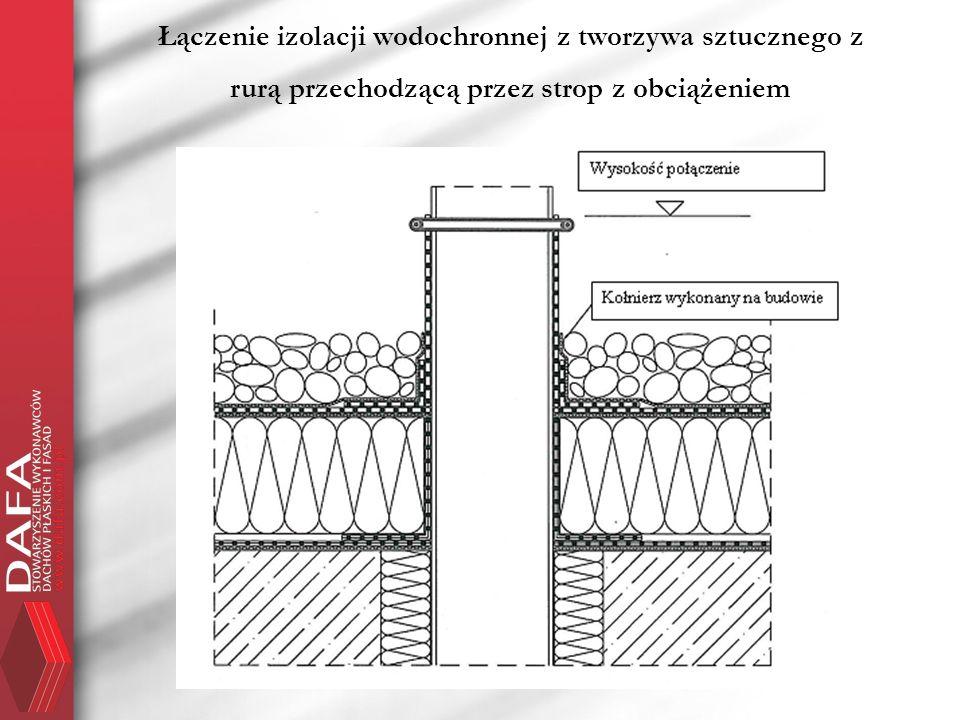 Łączenie izolacji wodochronnej z tworzywa sztucznego z rurą przechodzącą przez strop z obciążeniem