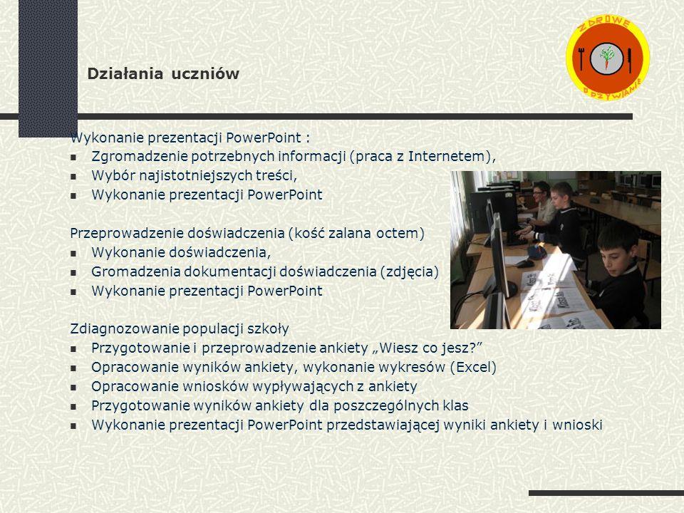 Działania uczniów Wykonanie prezentacji PowerPoint :