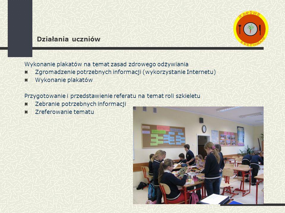Działania uczniów Wykonanie plakatów na temat zasad zdrowego odżywiania. Zgromadzenie potrzebnych informacji (wykorzystanie Internetu)