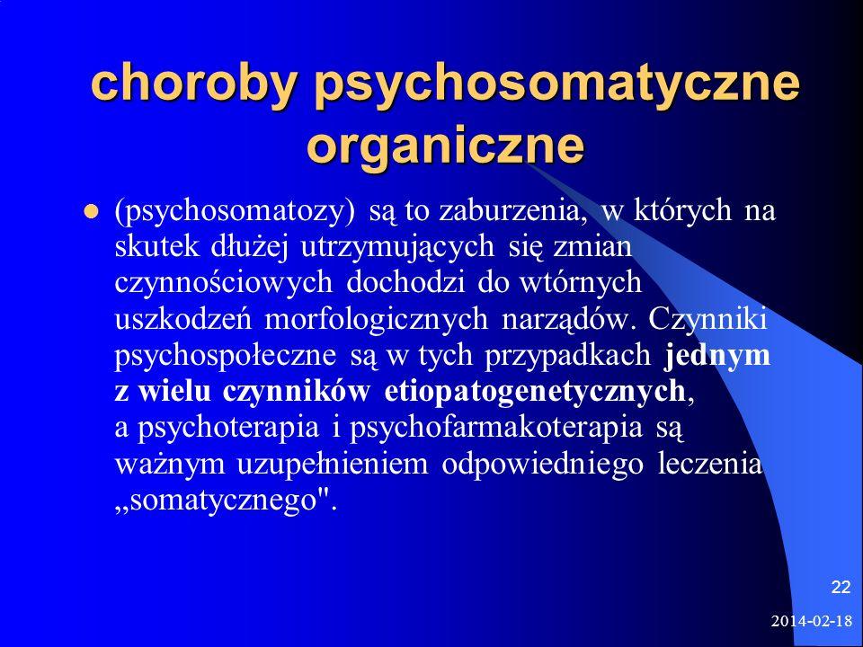 choroby psychosomatyczne organiczne