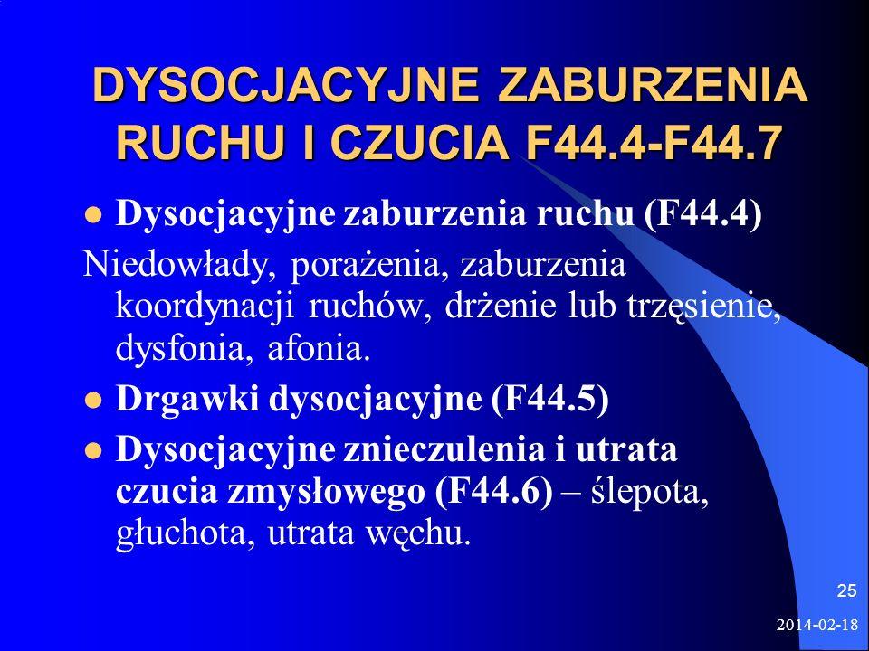 DYSOCJACYJNE ZABURZENIA RUCHU I CZUCIA F44.4-F44.7