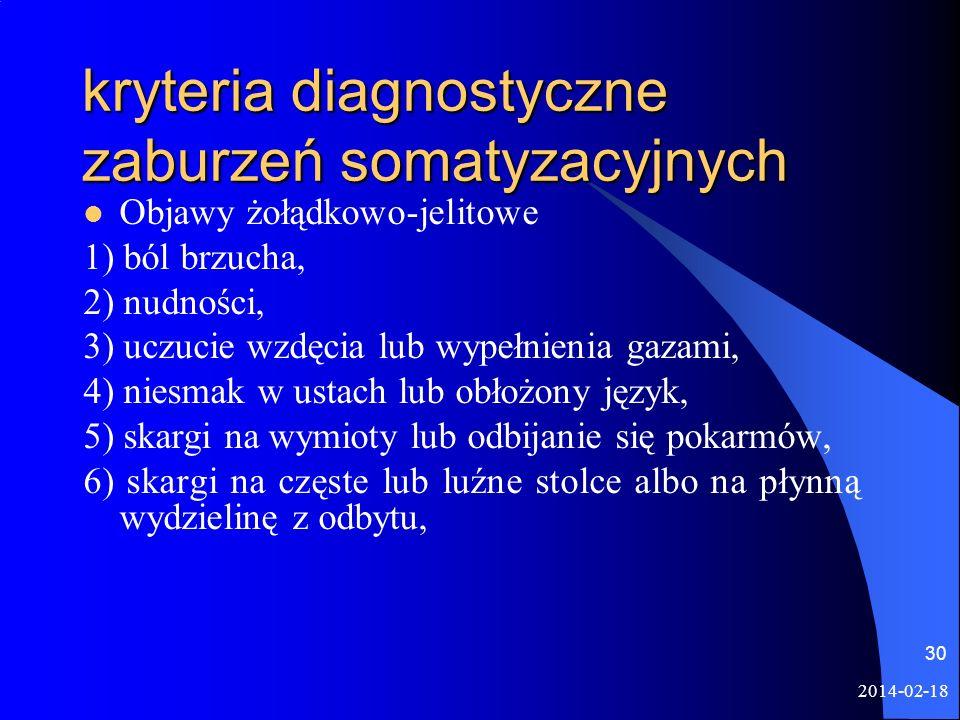 kryteria diagnostyczne zaburzeń somatyzacyjnych
