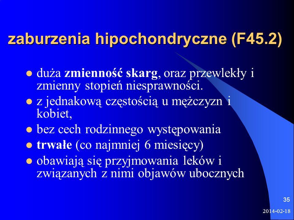 zaburzenia hipochondryczne (F45.2)