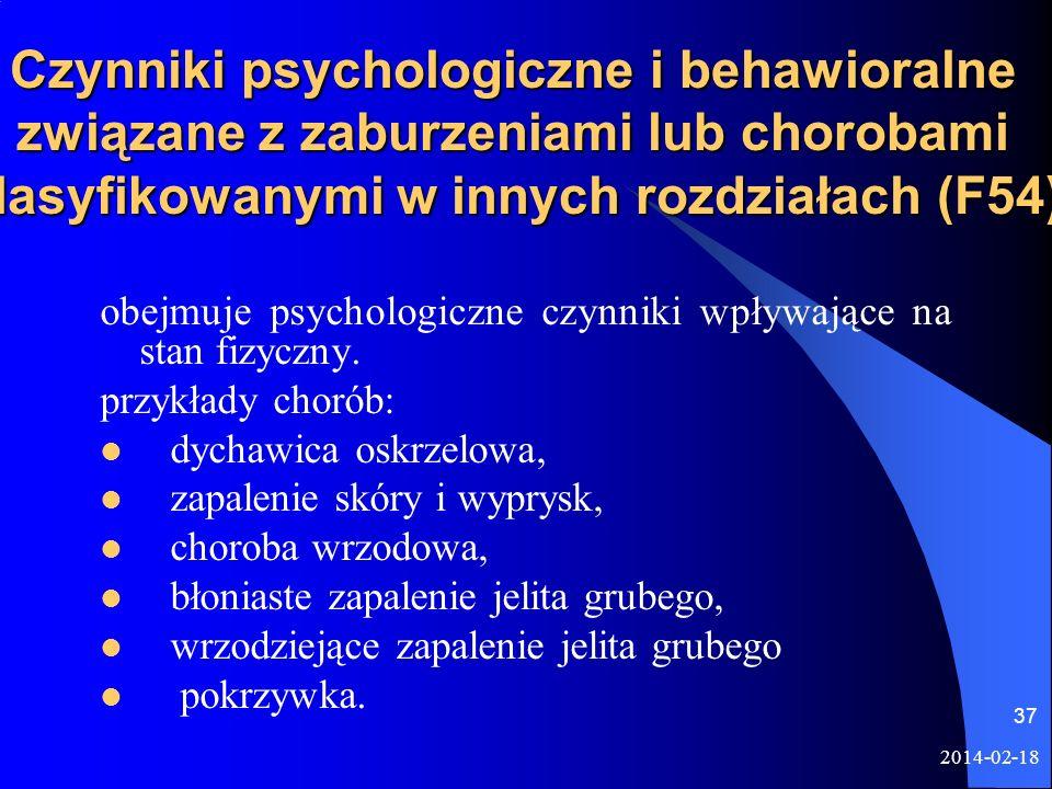 Czynniki psychologiczne i behawioralne związane z zaburzeniami lub chorobami klasyfikowanymi w innych rozdziałach (F54)