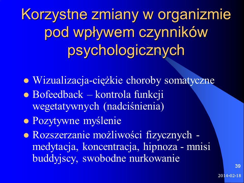 Korzystne zmiany w organizmie pod wpływem czynników psychologicznych