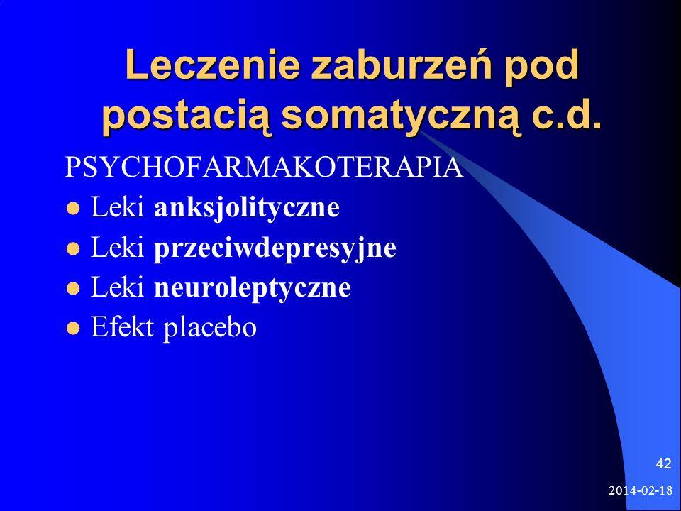Leczenie zaburzeń pod postacią somatyczną c.d.