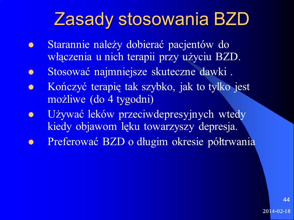 Zasady stosowania BZD Starannie należy dobierać pacjentów do włączenia u nich terapii przy użyciu BZD.