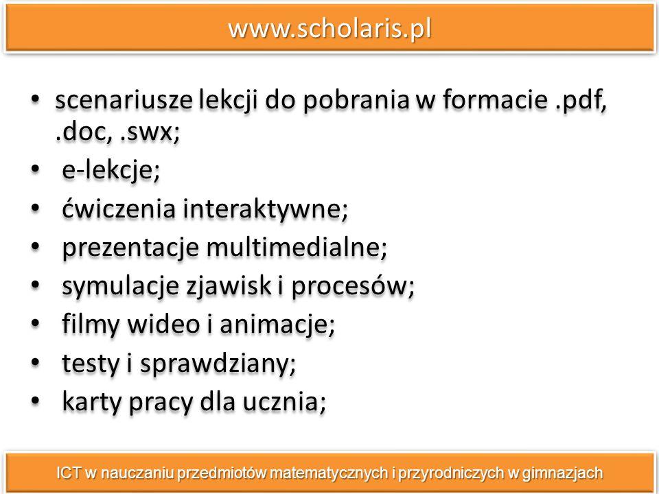 scenariusze lekcji do pobrania w formacie .pdf, .doc, .swx; e-lekcje;