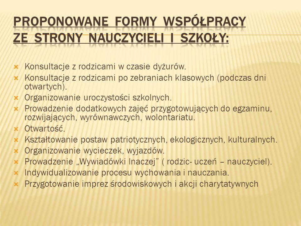 Proponowane formy współpracy ze strony nauczycieli i szkoły: