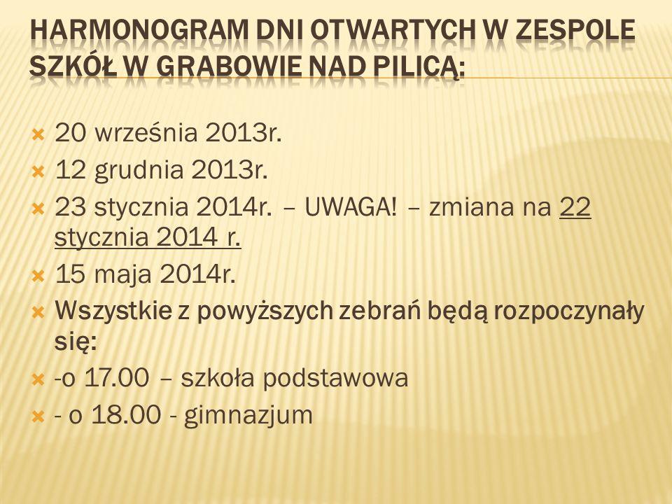 Harmonogram Dni Otwartych w Zespole Szkół w Grabowie nad Pilicą: