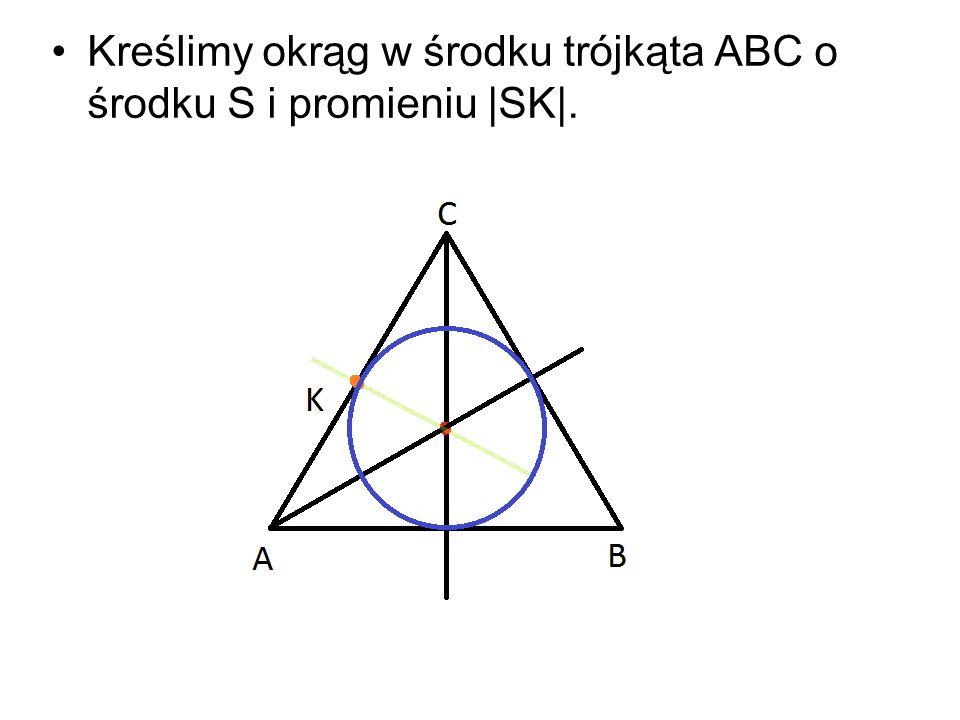 Kreślimy okrąg w środku trójkąta ABC o środku S i promieniu |SK|.