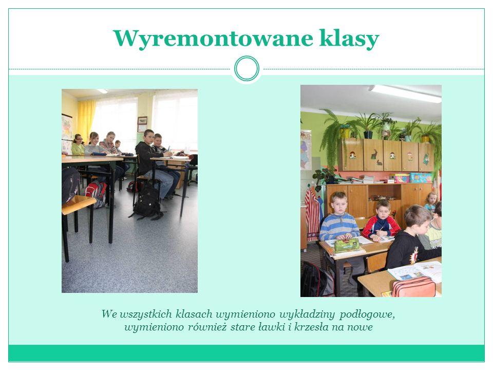 Wyremontowane klasy We wszystkich klasach wymieniono wykładziny podłogowe, wymieniono również stare ławki i krzesła na nowe.