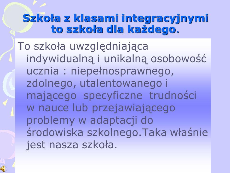 Szkoła z klasami integracyjnymi to szkoła dla każdego.
