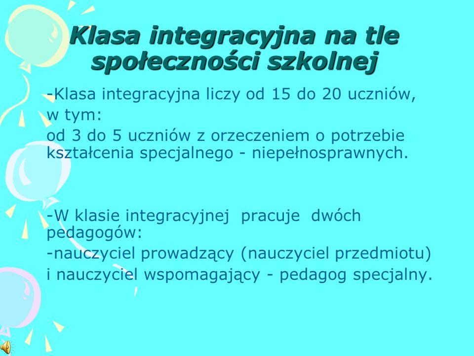 Klasa integracyjna na tle społeczności szkolnej