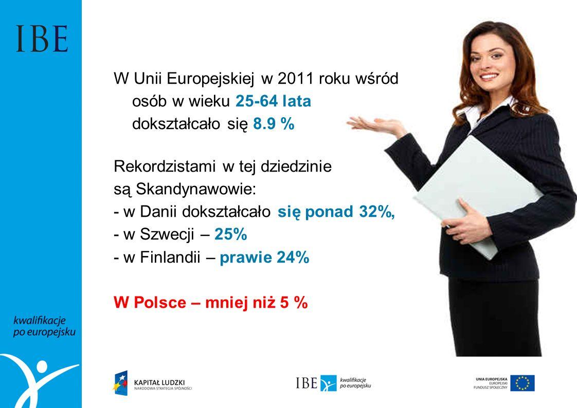 W Unii Europejskiej w 2011 roku wśród osób w wieku 25-64 lata dokształcało się 8.9 % Rekordzistami w tej dziedzinie są Skandynawowie: - w Danii dokształcało się ponad 32%, - w Szwecji – 25% - w Finlandii – prawie 24% W Polsce – mniej niż 5 %