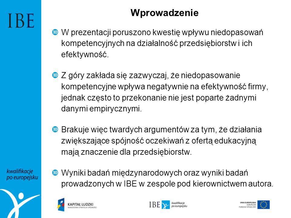 WprowadzenieW prezentacji poruszono kwestię wpływu niedopasowań kompetencyjnych na działalność przedsiębiorstw i ich efektywność.