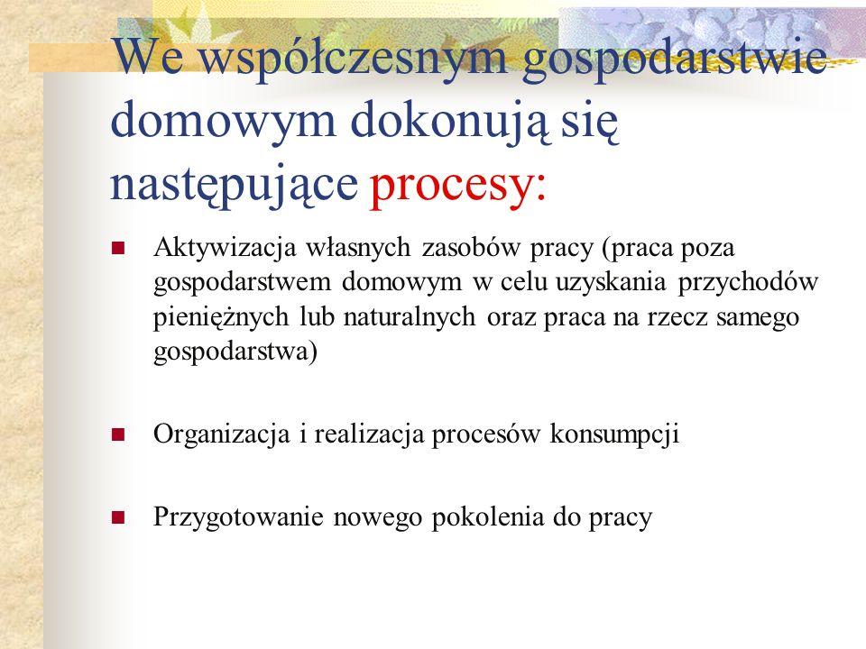 We współczesnym gospodarstwie domowym dokonują się następujące procesy: