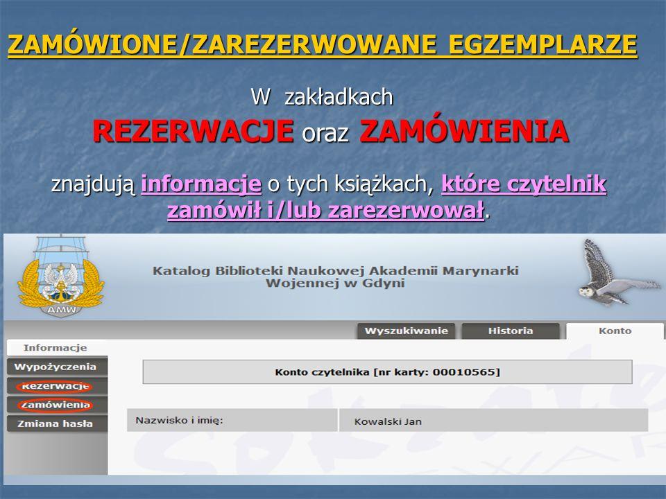 ZAMÓWIONE/ZAREZERWOWANE EGZEMPLARZE