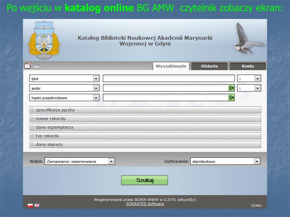 Po wejściu w katalog online BG AMW czytelnik zobaczy ekran:
