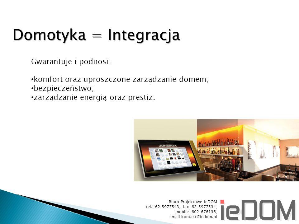 Domotyka = Integracja Gwarantuje i podnosi: