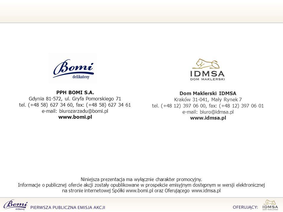 PPH BOMI S.A. www.bomi.pl Dom Maklerski IDMSA www.idmsa.pl
