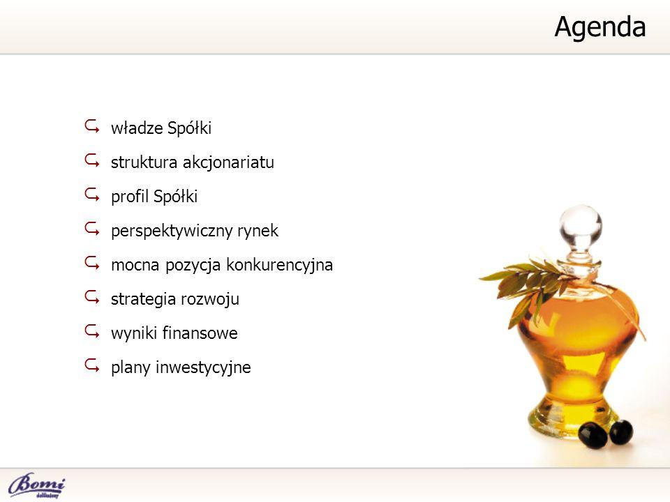 Agenda władze Spółki struktura akcjonariatu profil Spółki
