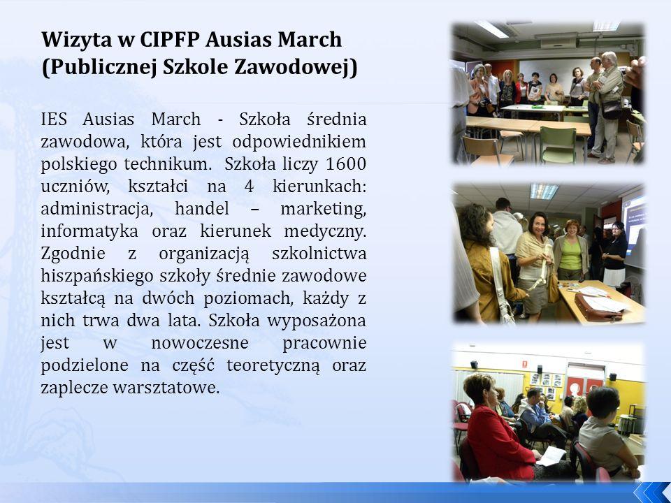 Wizyta w CIPFP Ausias March (Publicznej Szkole Zawodowej)