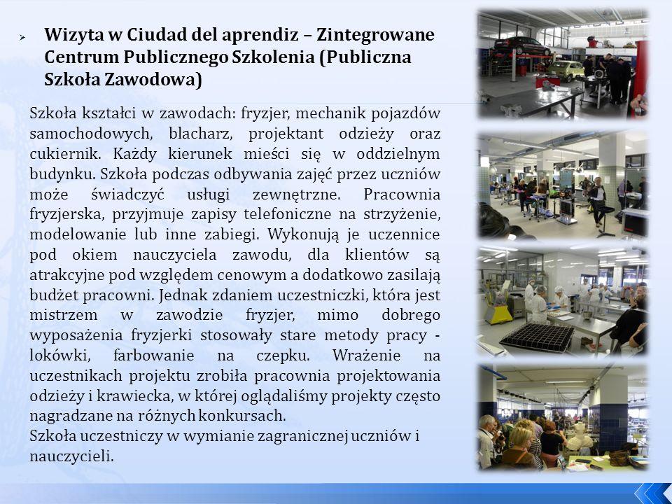 Wizyta w Ciudad del aprendiz – Zintegrowane Centrum Publicznego Szkolenia (Publiczna Szkoła Zawodowa)