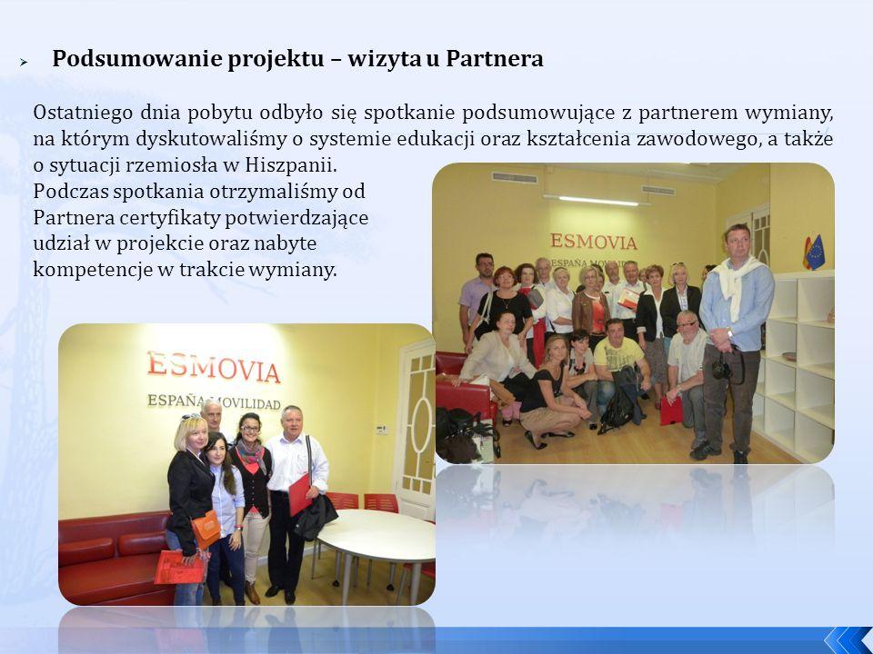 Podsumowanie projektu – wizyta u Partnera