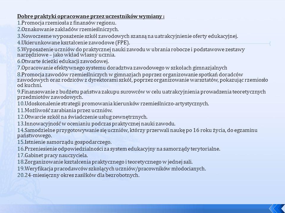 Dobre praktyki opracowane przez uczestników wymiany :