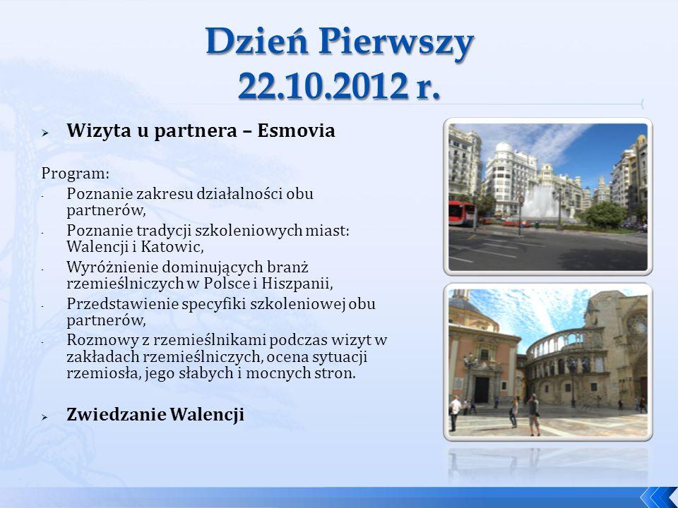 Dzień Pierwszy 22.10.2012 r. Wizyta u partnera – Esmovia
