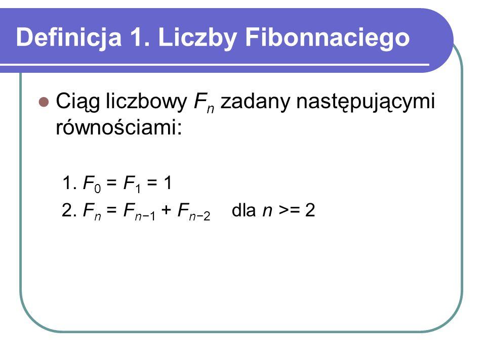 Definicja 1. Liczby Fibonnaciego