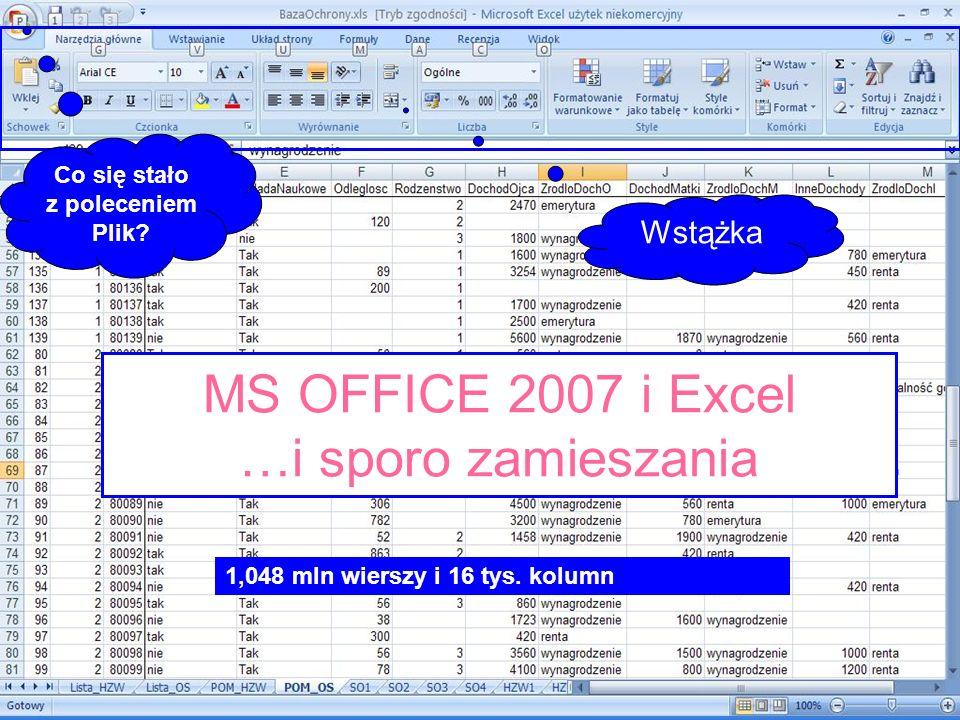 MS OFFICE 2007 i Excel …i sporo zamieszania