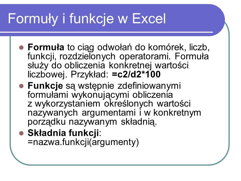 Formuły i funkcje w Excel