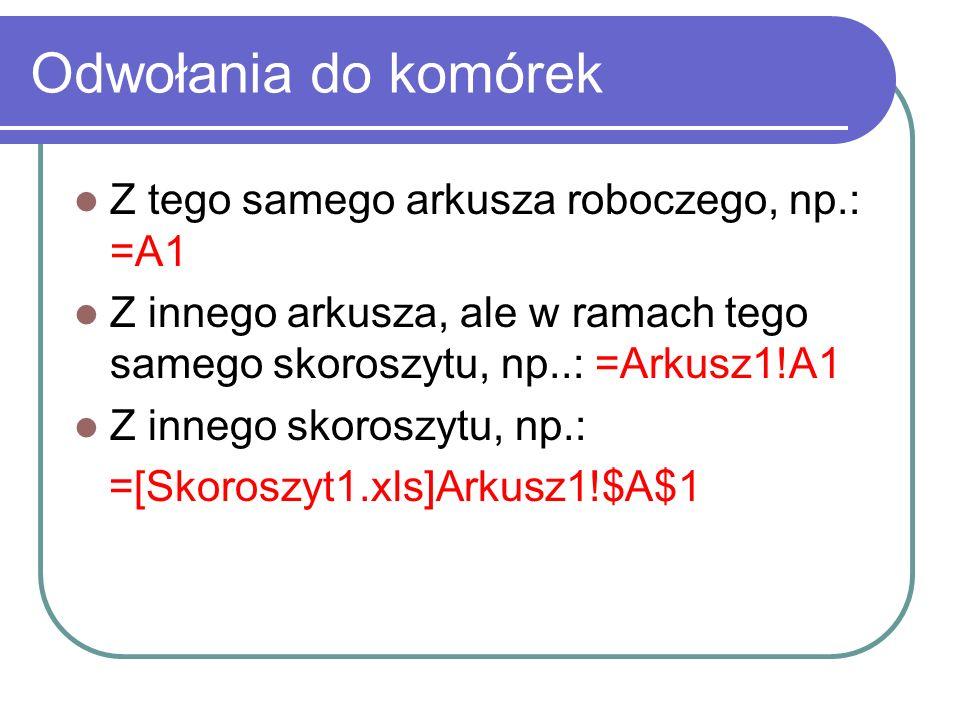 Odwołania do komórek Z tego samego arkusza roboczego, np.: =A1
